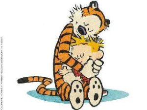 Calvin and Hobbes, hug, hugging, love, tiger, child, touch, banish loneliness, loneliness, lonely feelings, full of life, touch