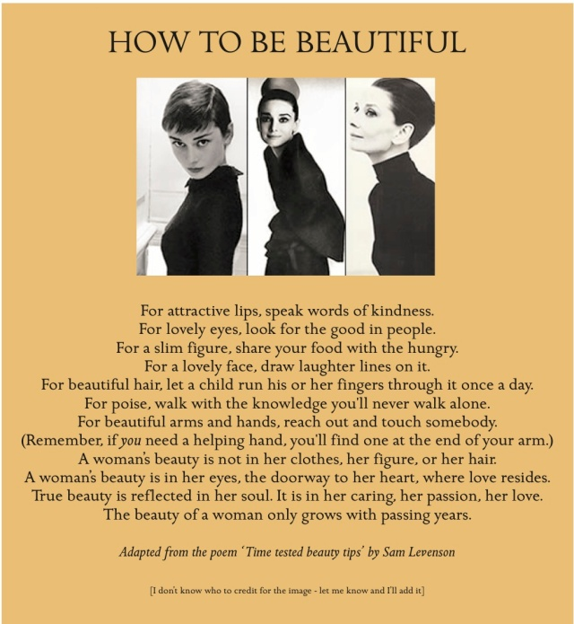 Audrey Hepburn's advice to women https://arabellafulloflife.wordpress.com