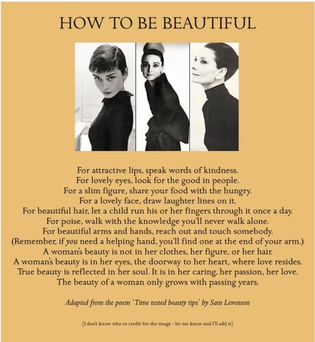 Audrey Hepburn's advice to women https://arabellafulloflife.wordpress.com